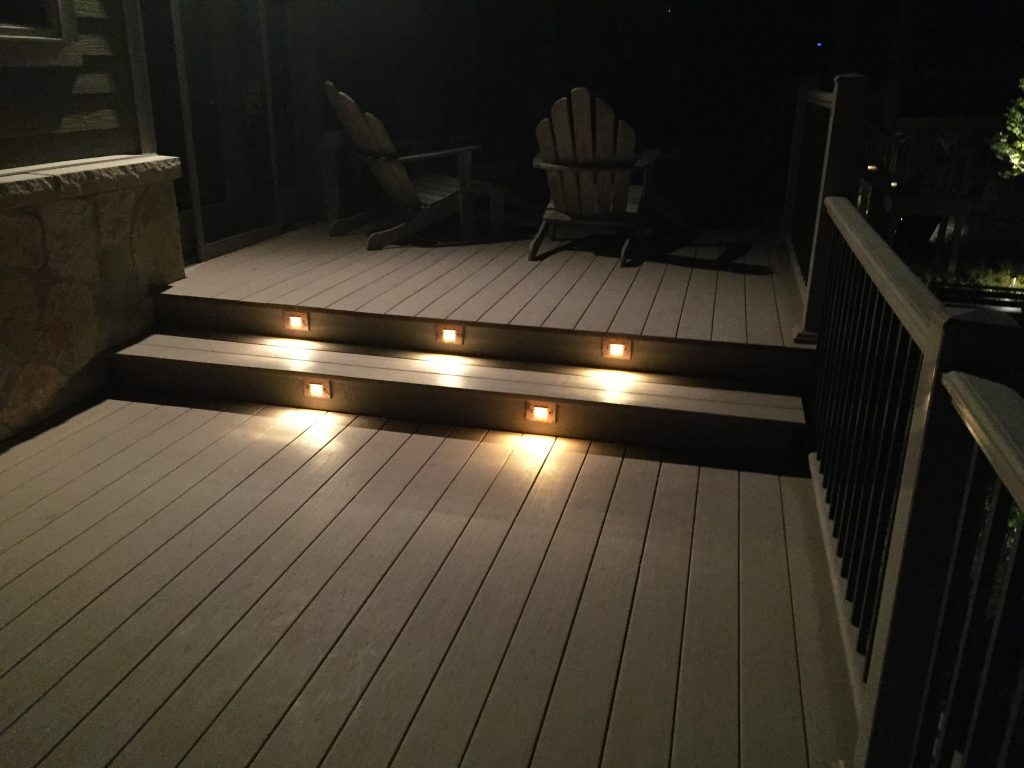 These are lights on two steps of a deck.