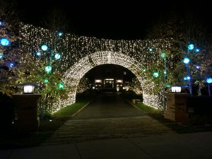 This is lighting on an archway over a driveway.