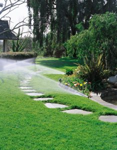 This is an irrigation system over a stone path in the yard.