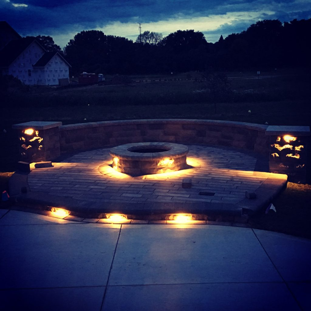 This is outdoor lighting around a fire pit.